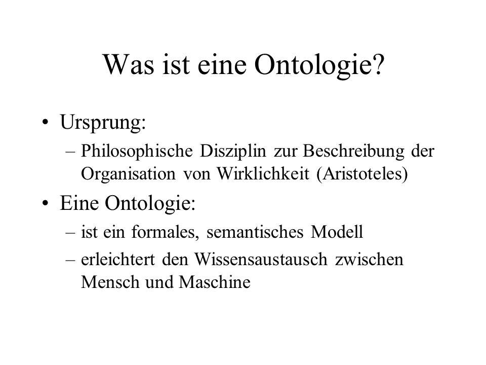 Was ist eine Ontologie? Ursprung: –Philosophische Disziplin zur Beschreibung der Organisation von Wirklichkeit (Aristoteles) Eine Ontologie: –ist ein