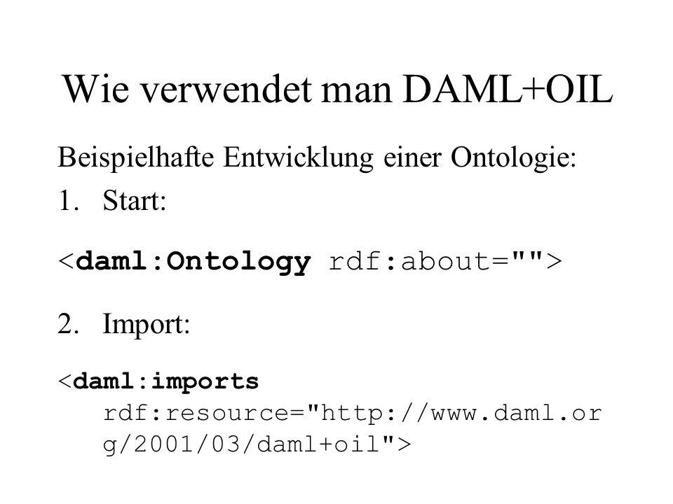 Wie verwendet man DAML+OIL Beispielhafte Entwicklung einer Ontologie: 1.Start: 2.Import: