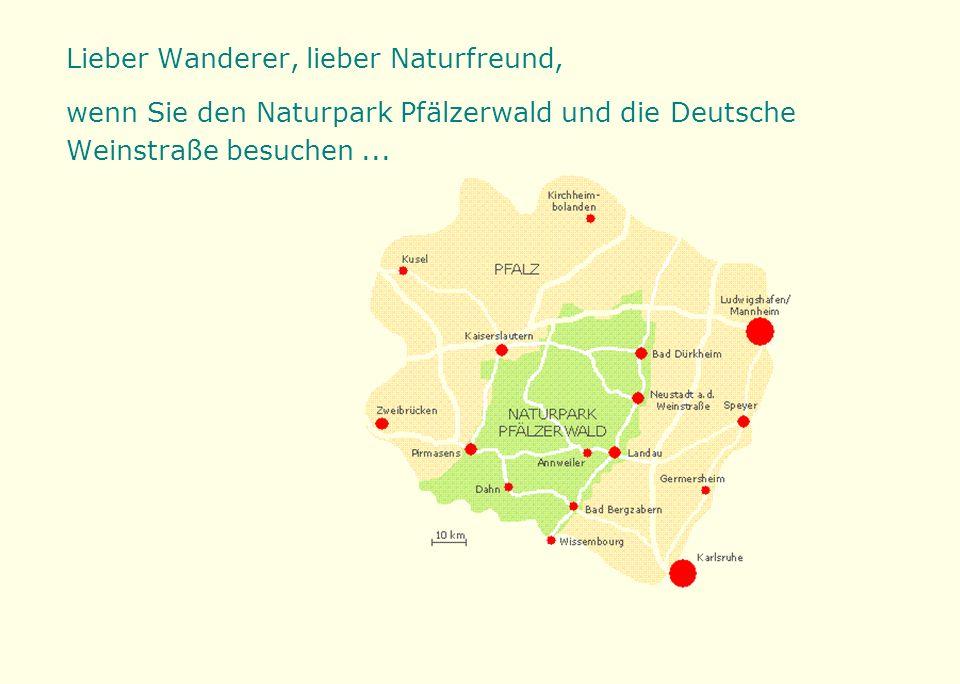 Lieber Wanderer, lieber Naturfreund, wenn Sie den Naturpark Pfälzerwald und die Deutsche Weinstraße besuchen...