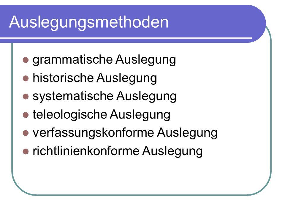 Grammatische Auslegung ist die Auslegung nach dem WORTSINN oder auch dem SATZBAU und ggf.