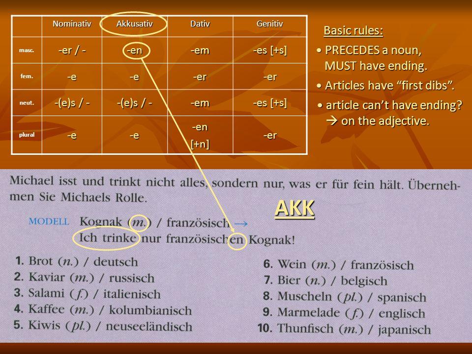 NominativAkkusativDativGenitiv masc. -er / - -en-em -es [+s] fem.-e-e-er-er neut. -(e)s / - -em -es [+s] plural-e-e-en[+n]-er Basic rules: PRECEDES a