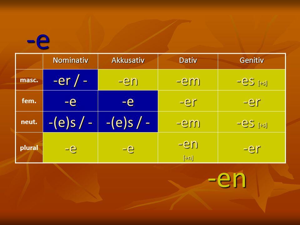 NominativAkkusativDativGenitiv masc. -er / - -en-em -es [+s] fem.-e-e-er-er neut. -(e)s / - -em -es [+s] plural-e-e-en[+n]-er -e -en