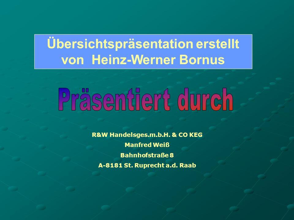 Übersichtspräsentation erstellt von Heinz-Werner Bornus R&W Handelsges.m.b.H.