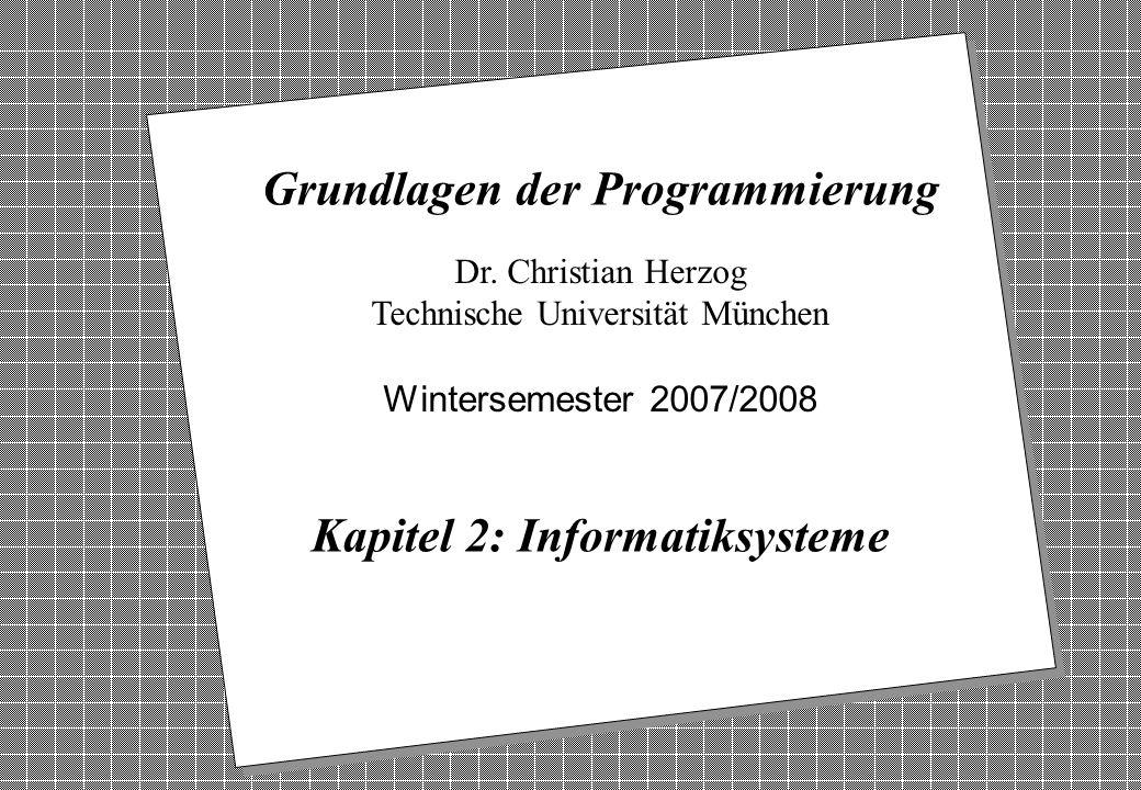 Copyright 2007 Bernd Brügge, Christian Herzog Grundlagen der Programmierung TUM Wintersemester 2007/08 Kapitel 2, Folie 1 2 Dr. Christian Herzog Techn