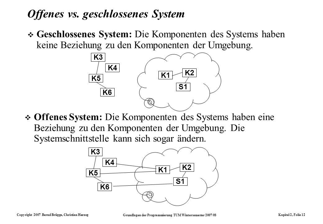 Copyright 2007 Bernd Brügge, Christian Herzog Grundlagen der Programmierung TUM Wintersemester 2007/08 Kapitel 2, Folie 12 Offenes vs. geschlossenes S
