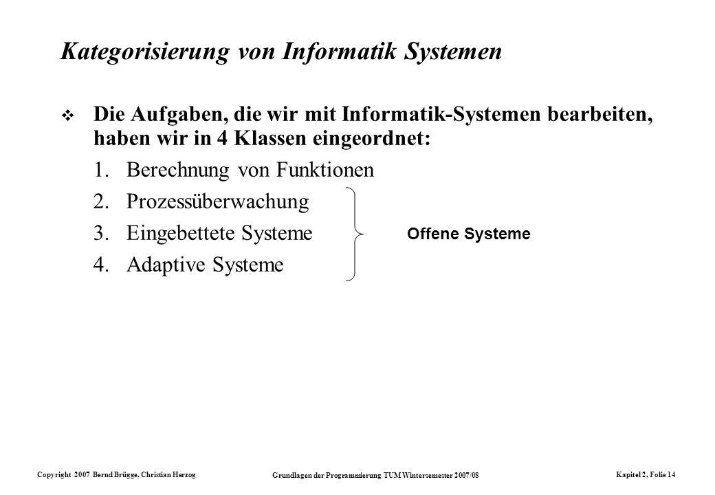 Copyright 2007 Bernd Brügge, Christian Herzog Grundlagen der Programmierung TUM Wintersemester 2007/08 Kapitel 2, Folie 14 Kategorisierung von Informa