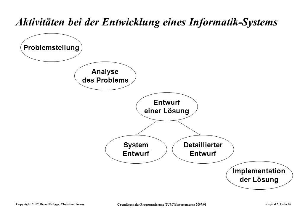 Copyright 2007 Bernd Brügge, Christian Herzog Grundlagen der Programmierung TUM Wintersemester 2007/08 Kapitel 2, Folie 16 Aktivitäten bei der Entwick