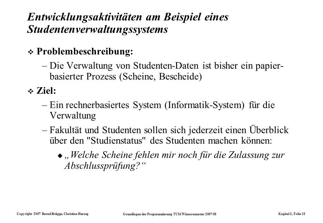 Copyright 2007 Bernd Brügge, Christian Herzog Grundlagen der Programmierung TUM Wintersemester 2007/08 Kapitel 2, Folie 18 Entwicklungsaktivitäten am
