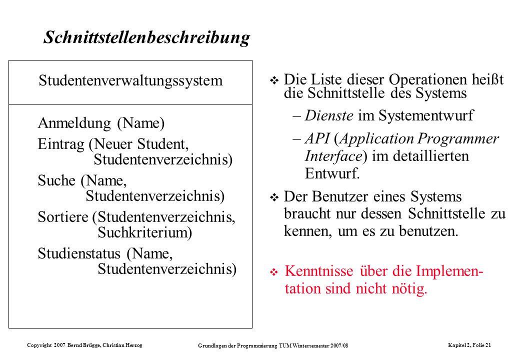 Copyright 2007 Bernd Brügge, Christian Herzog Grundlagen der Programmierung TUM Wintersemester 2007/08 Kapitel 2, Folie 21 Schnittstellenbeschreibung