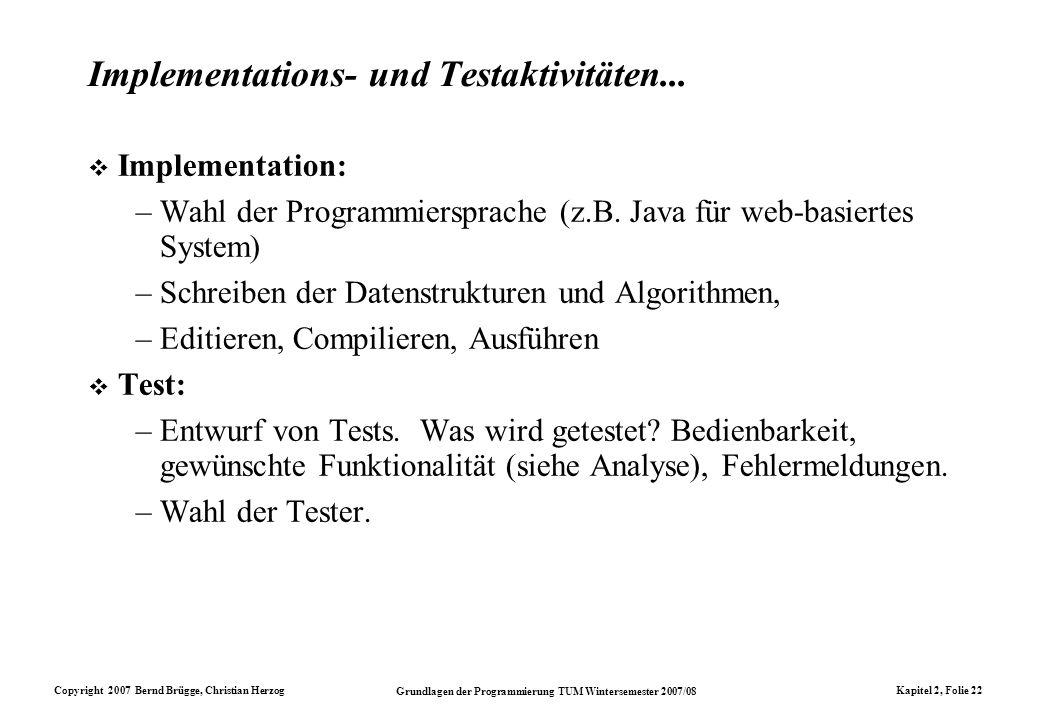 Copyright 2007 Bernd Brügge, Christian Herzog Grundlagen der Programmierung TUM Wintersemester 2007/08 Kapitel 2, Folie 22 Implementations- und Testak