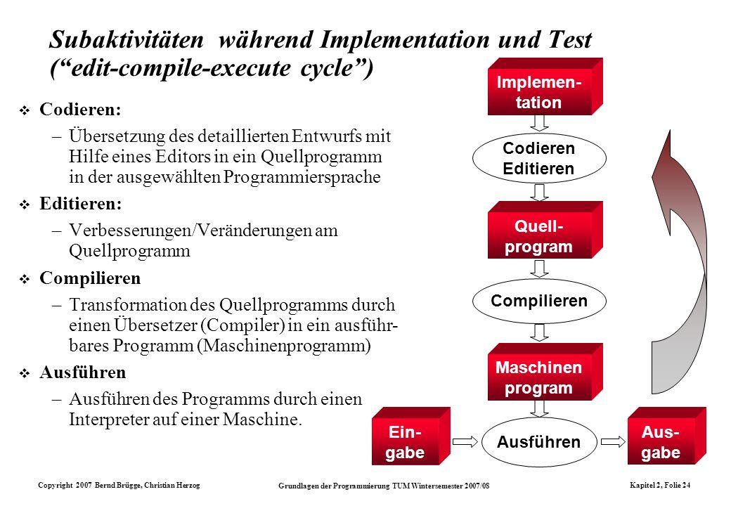 Copyright 2007 Bernd Brügge, Christian Herzog Grundlagen der Programmierung TUM Wintersemester 2007/08 Kapitel 2, Folie 24 Subaktivitäten während Impl