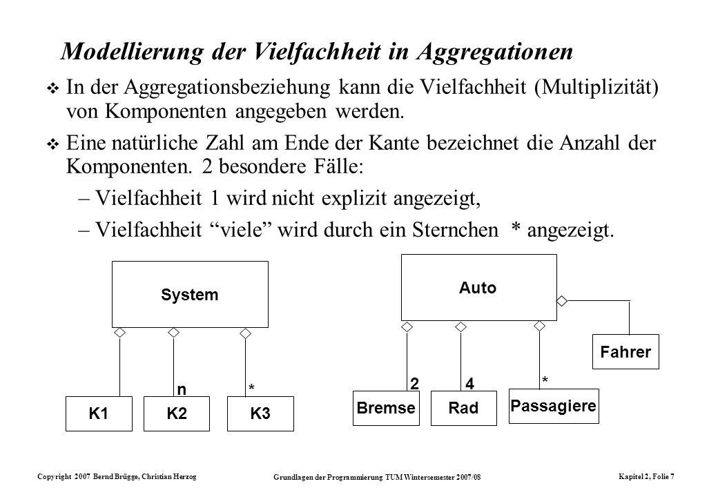 Copyright 2007 Bernd Brügge, Christian Herzog Grundlagen der Programmierung TUM Wintersemester 2007/08 Kapitel 2, Folie 7 System K1 n K2K3 * Auto Brem