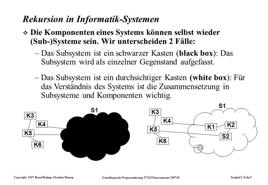Copyright 2007 Bernd Brügge, Christian Herzog Grundlagen der Programmierung TUM Wintersemester 2007/08 Kapitel 2, Folie 9 Rekursion in Informatik-Syst