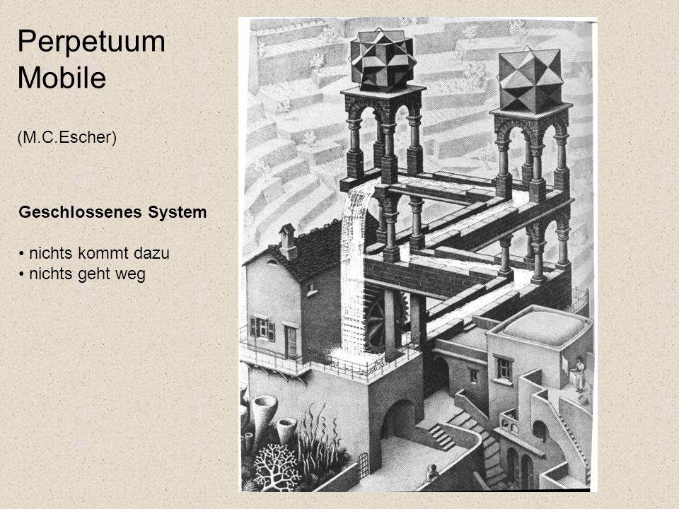 Perpetuum Mobile (M.C.Escher) Geschlossenes System nichts kommt dazu nichts geht weg