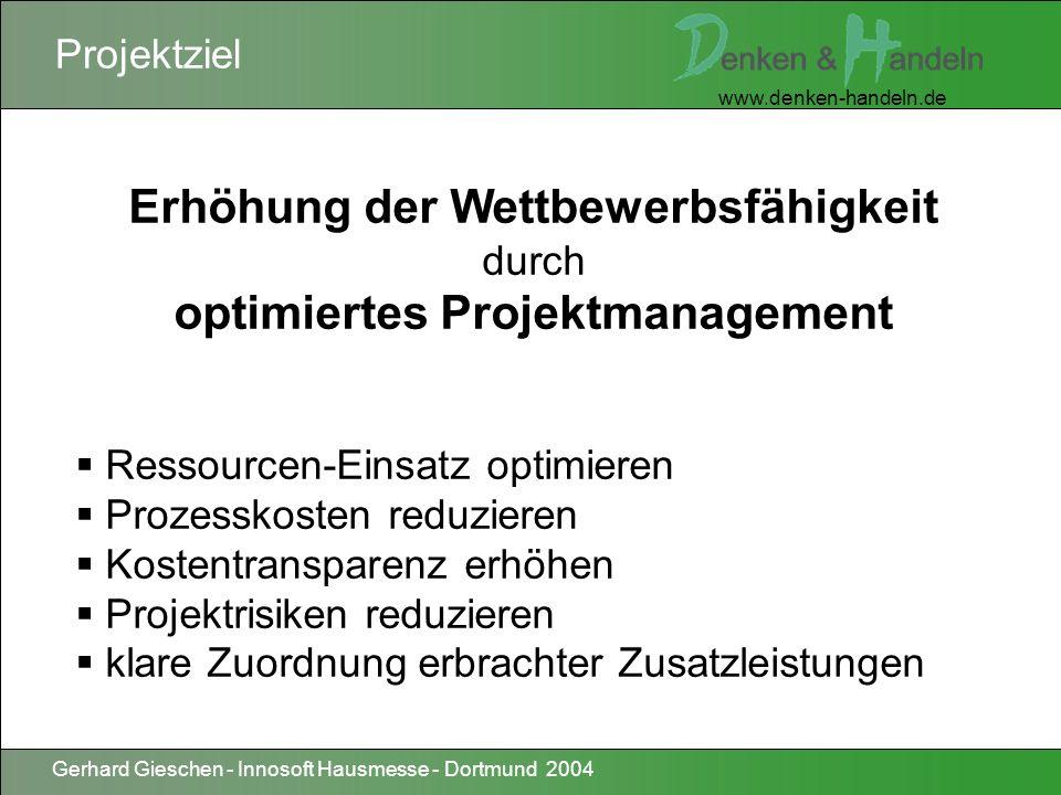 www.denken-handeln.de Gerhard Gieschen - Innosoft Hausmesse - Dortmund 2004 Paradigmen-Wechsel Die zentrale Aufgabe eines Systemdienstleisters ist es, Projekte erfolgreich zu managen.