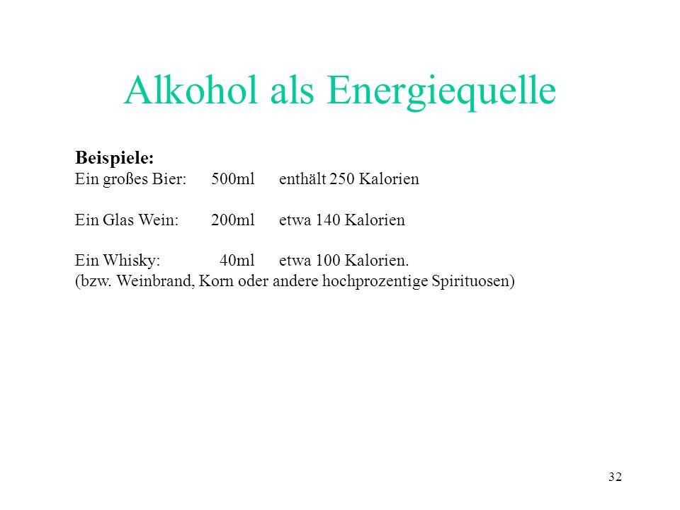 32 Alkohol als Energiequelle Beispiele: Ein großes Bier:500ml enthält 250 Kalorien Ein Glas Wein:200mletwa 140 Kalorien Ein Whisky: 40ml etwa 100 Kalo
