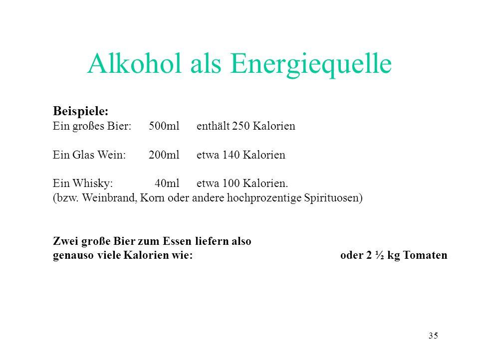 35 Alkohol als Energiequelle Beispiele: Ein großes Bier:500ml enthält 250 Kalorien Ein Glas Wein:200mletwa 140 Kalorien Ein Whisky: 40ml etwa 100 Kalo