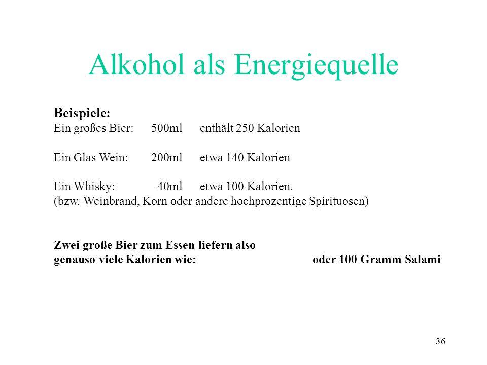 36 Alkohol als Energiequelle Beispiele: Ein großes Bier:500ml enthält 250 Kalorien Ein Glas Wein:200mletwa 140 Kalorien Ein Whisky: 40ml etwa 100 Kalo