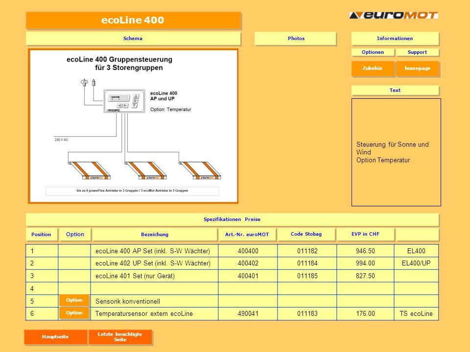 ecoLine 400 1ecoLine 400 AP Set (inkl. S-W Wächter)400400011182946.50EL400 2ecoLine 402 UP Set (inkl. S-W Wächter)400402011184994.00EL400/UP 3ecoLine