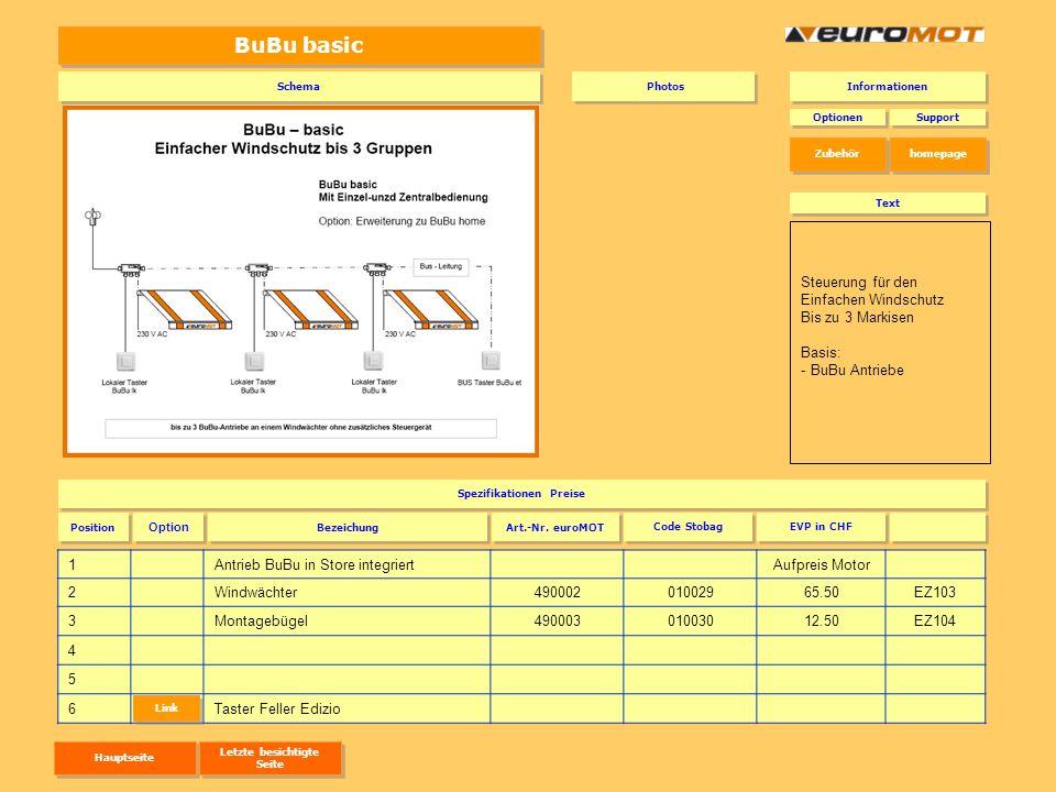 BuBu basic 1Antrieb BuBu in Store integriert Aufpreis Motor 2Windwächter49000201002965.50EZ103 3Montagebügel49000301003012.50EZ104 4 5 6Taster Feller