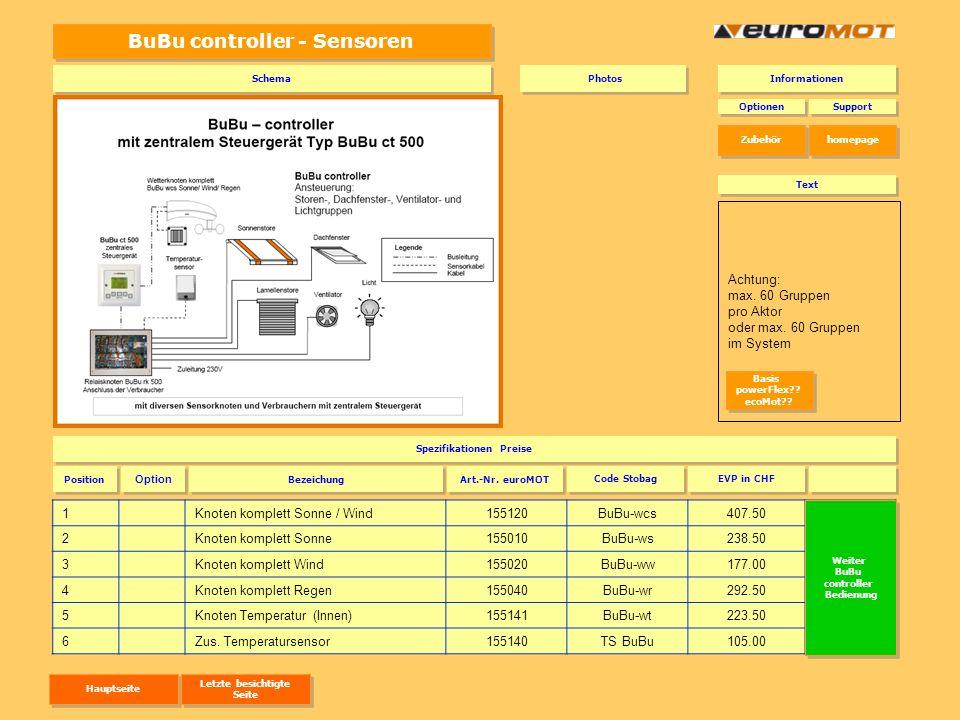 BuBu controller - Sensoren 1Knoten komplett Sonne / Wind155120BuBu-wcs407.50BuBu-wcs 2Knoten komplett Sonne155010BuBu-ws238.50BuBu-ws 3Knoten komplett