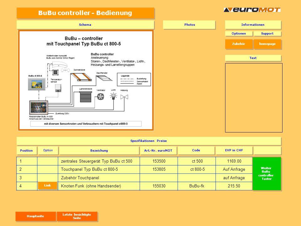 BuBu controller - Bedienung 1zentrales Steuergerät Typ BuBu ct 500153500 ct 5001169.00 ct 500 2Touchpanel Typ BuBu ct 800-5153805 ct 800-5Auf Anfrage