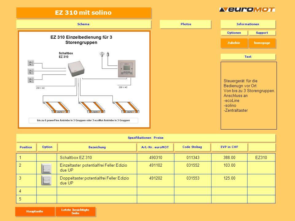 EZ 310 mit solino 1Schaltbox EZ 310490310011343388.00EZ310 2Einzeltaster potentialfrei Feller Edizio due UP 491102031552103.00 3Doppeltaster potential