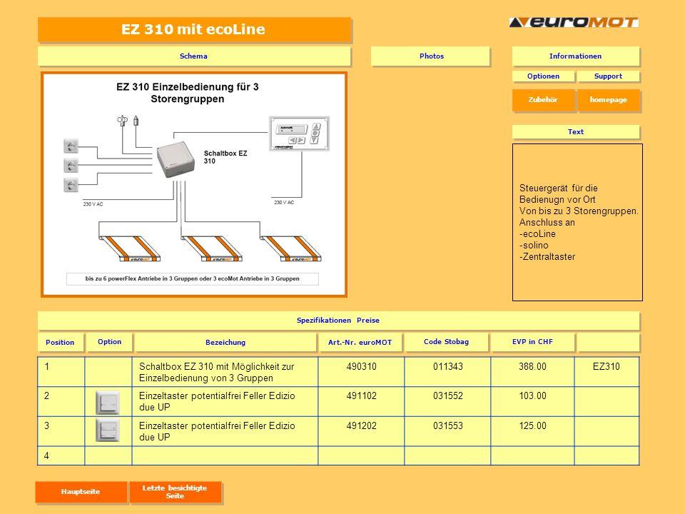 EZ 310 mit ecoLine 1Schaltbox EZ 310 mit Möglichkeit zur Einzelbedienung von 3 Gruppen 490310011343388.00EZ310 2Einzeltaster potentialfrei Feller Ediz