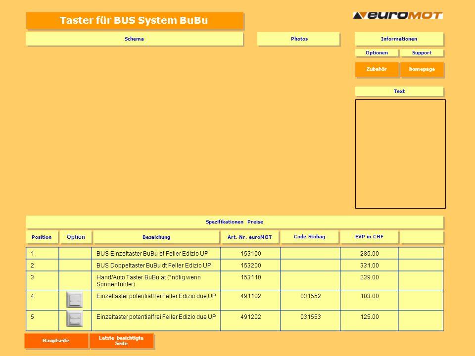 Taster für BUS System BuBu 1BUS Einzeltaster BuBu et Feller Edizio UP153100285.00 2BUS Doppeltaster BuBu dt Feller Edizio UP153200331.00 3Hand/Auto Ta