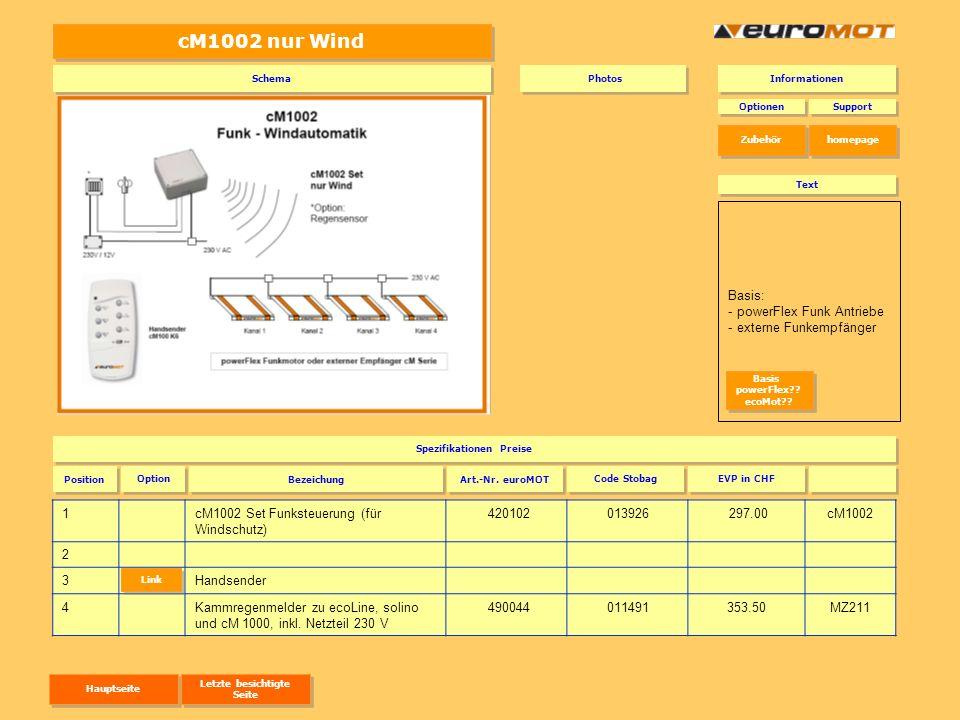 Externe Empfänger 1cM100 E ohne Zwischenposition IP 43 für Innenbereich 420500010516138.00 2cM120 E mit Zwischenposition IP 54 in Dose für Aussenbereich 420520012387182.50 3Handsender (nur Wind, ohne Hand/Auto Umschaltung) 4Handsender (mit Sonne immer mit Hand/Auto Umschaltung) Optionen Spezifikationen Preise Support Position Art.-Nr.