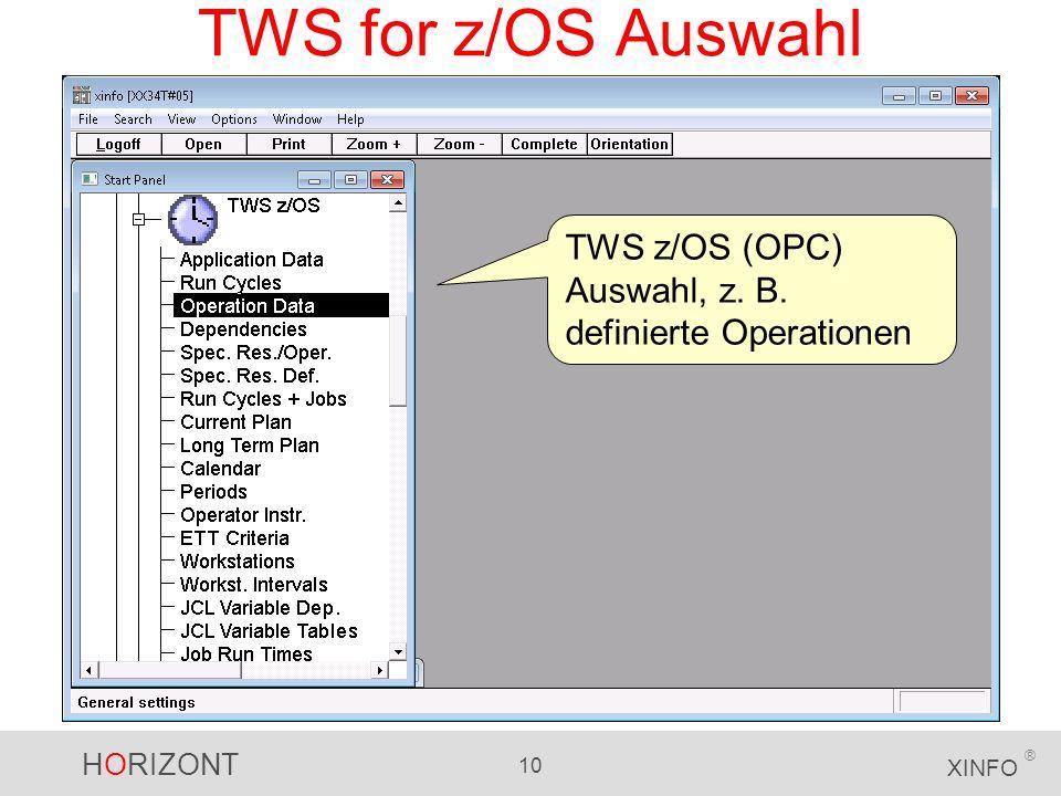 HORIZONT 10 XINFO ® TWS for z/OS Auswahl TWS z/OS (OPC) Auswahl, z. B. definierte Operationen