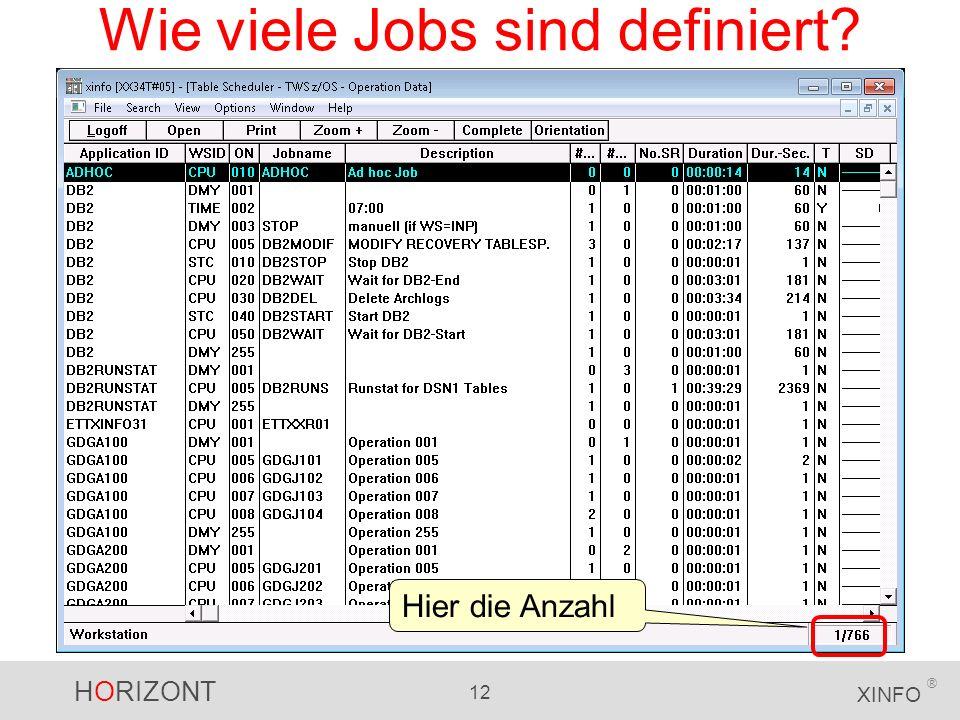 HORIZONT 12 XINFO ® Wie viele Jobs sind definiert? Hier die Anzahl