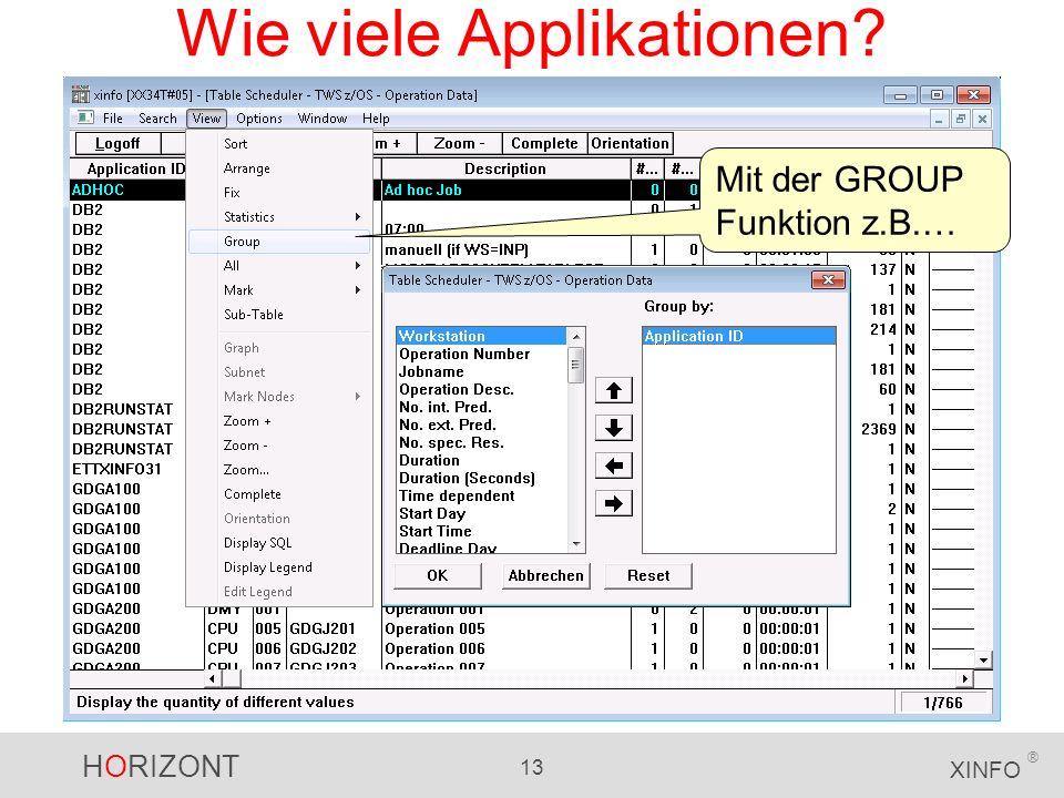 HORIZONT 13 XINFO ® Wie viele Applikationen? Mit der GROUP Funktion z.B.…