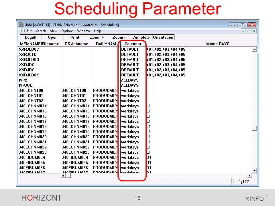 HORIZONT 18 XINFO ® Scheduling Parameter