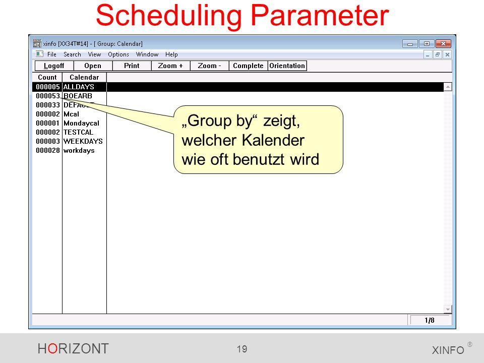 HORIZONT 19 XINFO ® Scheduling Parameter Group by zeigt, welcher Kalender wie oft benutzt wird
