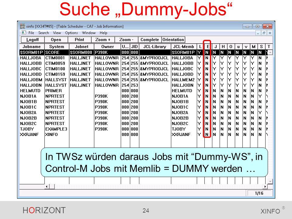 HORIZONT 24 XINFO ® Suche Dummy-Jobs In TWSz würden daraus Jobs mit Dummy-WS, in Control-M Jobs mit Memlib = DUMMY werden …