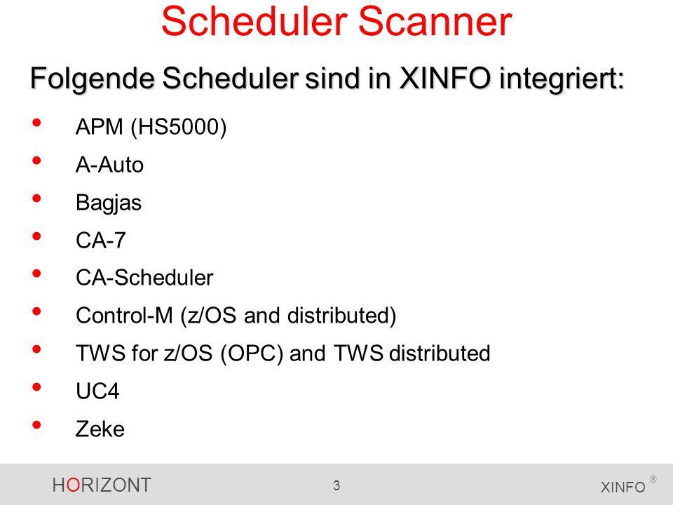 HORIZONT 4 XINFO ® Ergebnis der Scanner Die XINFO Scanner lesen die Job Definitionen, bereiten die Daten auf (Flags, Timestamps, etc.) und gruppieren sie nach Funktionalität: Job Definitionen, Beschreibung, Attribute etc.