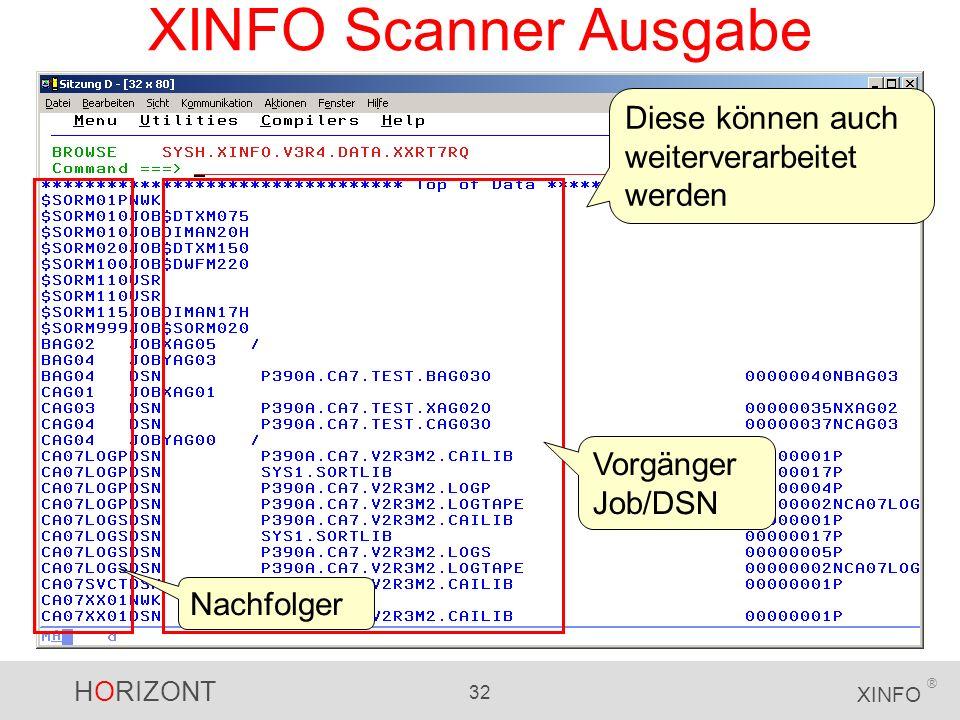 HORIZONT 32 XINFO ® XINFO Scanner Ausgabe Diese können auch weiterverarbeitet werden Vorgänger Job/DSN Nachfolger