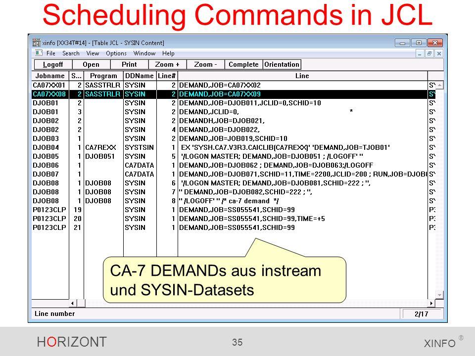 HORIZONT 35 XINFO ® Scheduling Commands in JCL CA-7 DEMANDs aus instream und SYSIN-Datasets