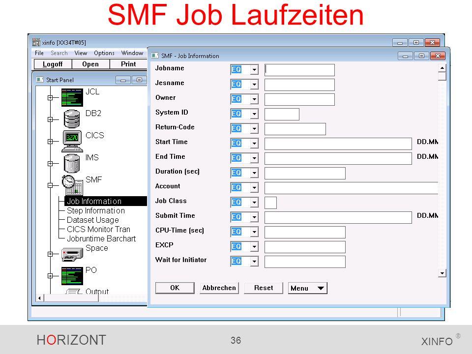 HORIZONT 36 XINFO ® SMF Job Laufzeiten