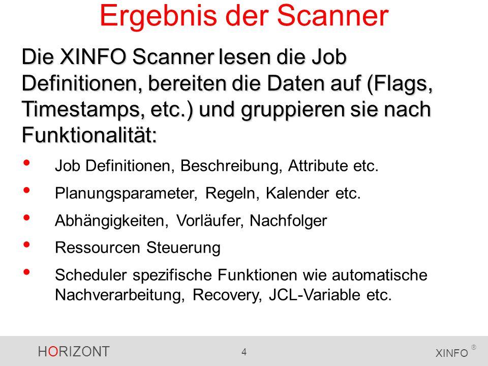 HORIZONT 4 XINFO ® Ergebnis der Scanner Die XINFO Scanner lesen die Job Definitionen, bereiten die Daten auf (Flags, Timestamps, etc.) und gruppieren