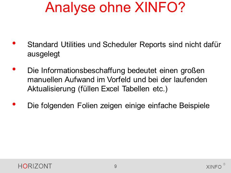 HORIZONT 9 XINFO ® Analyse ohne XINFO? Standard Utilities und Scheduler Reports sind nicht dafür ausgelegt Die Informationsbeschaffung bedeutet einen