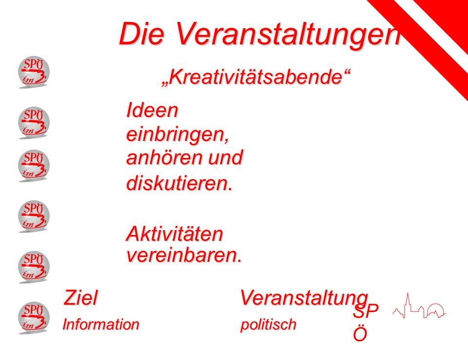 SP Ö Die Veranstaltungen VeranstaltungZiel Kreativitätsabende politisch Ideen einbringen, anhören und diskutieren.