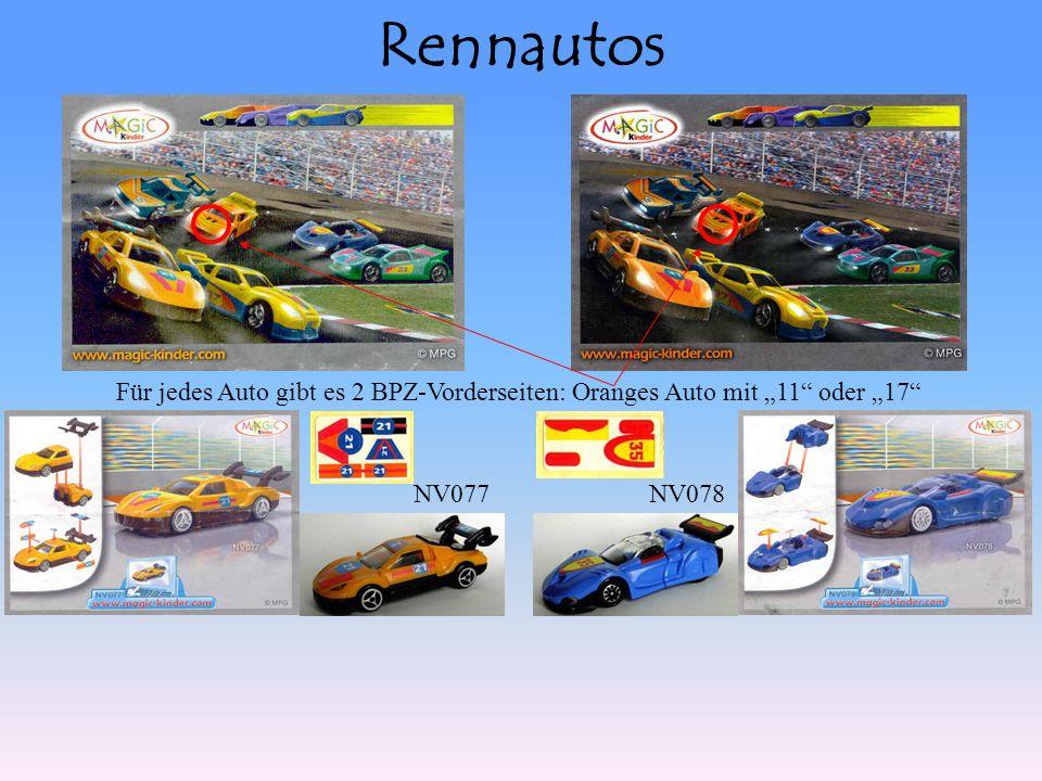 Rennautos NV077NV078 Für jedes Auto gibt es 2 BPZ-Vorderseiten: Oranges Auto mit 11 oder 17