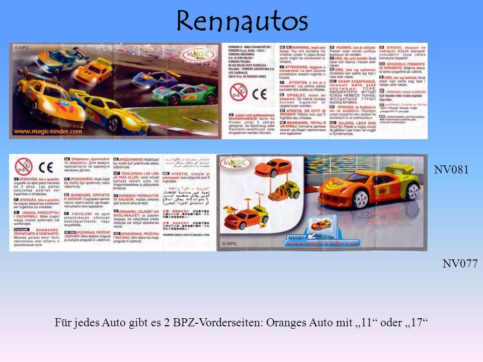 Rennautos NV077 NV081 Für jedes Auto gibt es 2 BPZ-Vorderseiten: Oranges Auto mit 11 oder 17