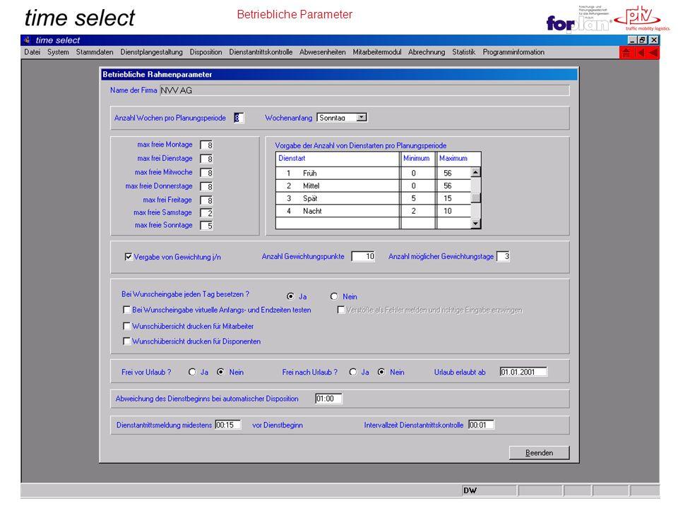 Betriebliche Parameter