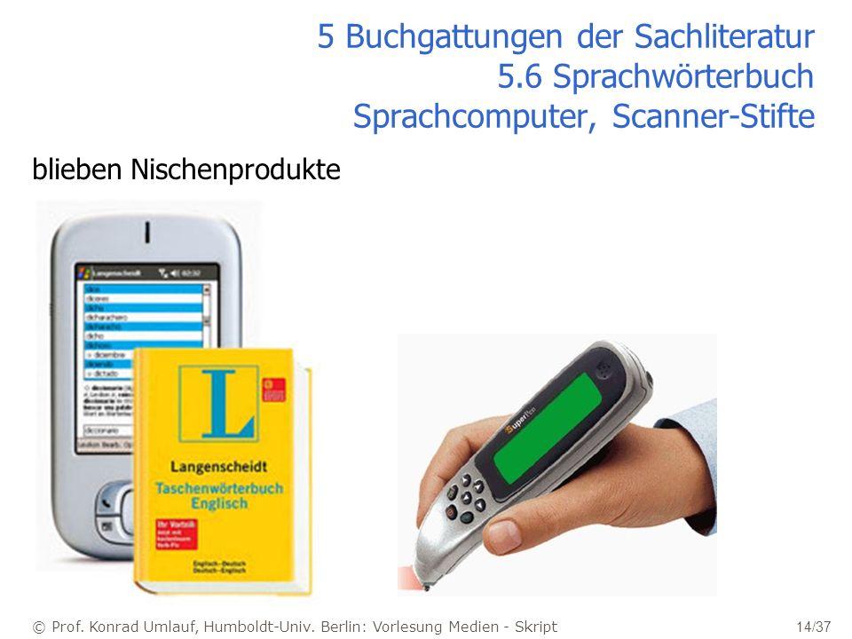 © Prof. Konrad Umlauf, Humboldt-Univ. Berlin: Vorlesung Medien - Skript 14/37 5 Buchgattungen der Sachliteratur 5.6 Sprachwörterbuch Sprachcomputer, S