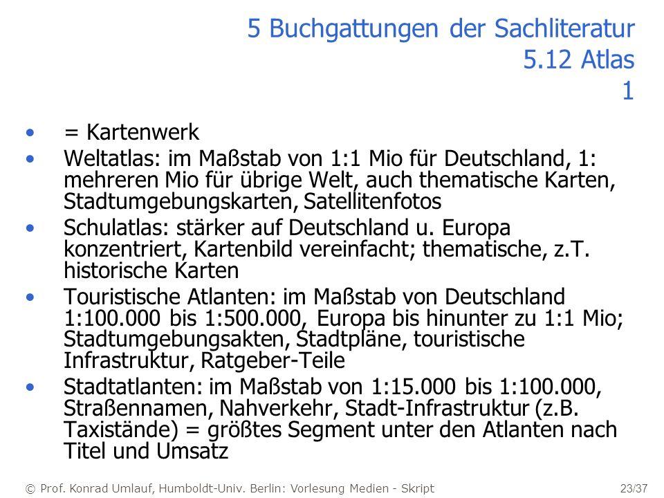 © Prof. Konrad Umlauf, Humboldt-Univ. Berlin: Vorlesung Medien - Skript 23/37 5 Buchgattungen der Sachliteratur 5.12 Atlas 1 = Kartenwerk Weltatlas: i