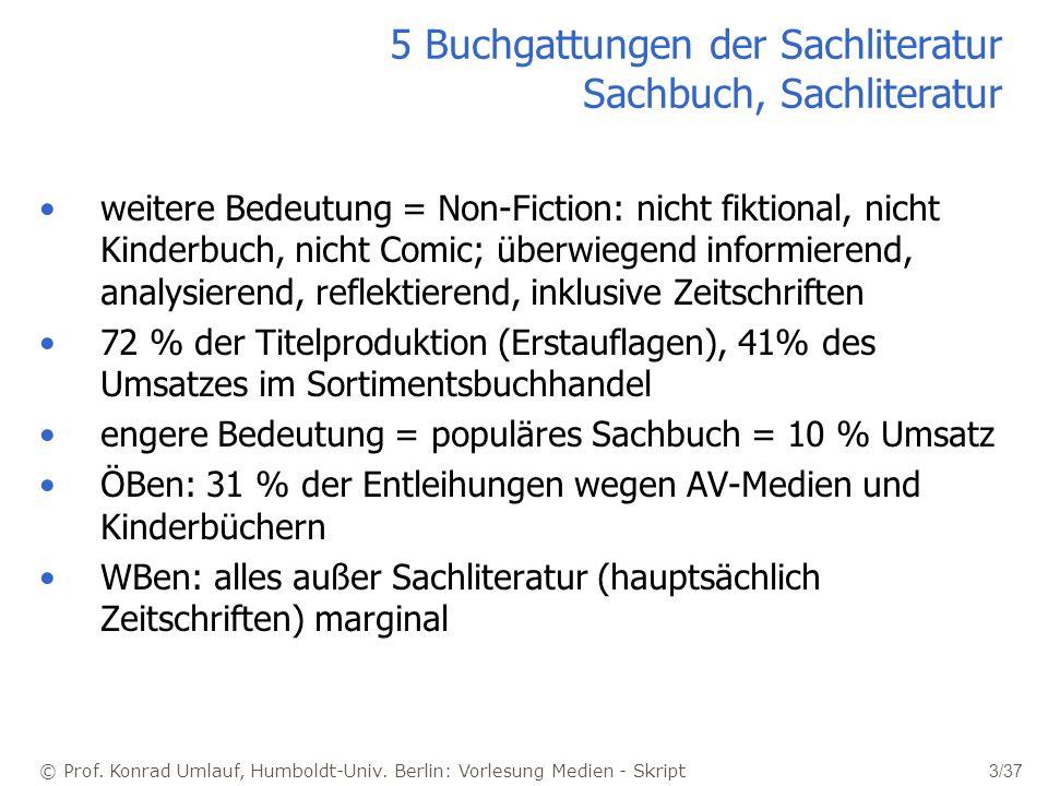 © Prof. Konrad Umlauf, Humboldt-Univ. Berlin: Vorlesung Medien - Skript 3/37 5 Buchgattungen der Sachliteratur Sachbuch, Sachliteratur weitere Bedeutu