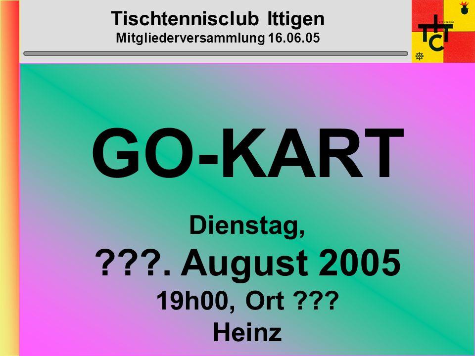 Tischtennisclub Ittigen Mitgliederversammlung 16.06.05 Bantiger-Cup Samstag, 04.